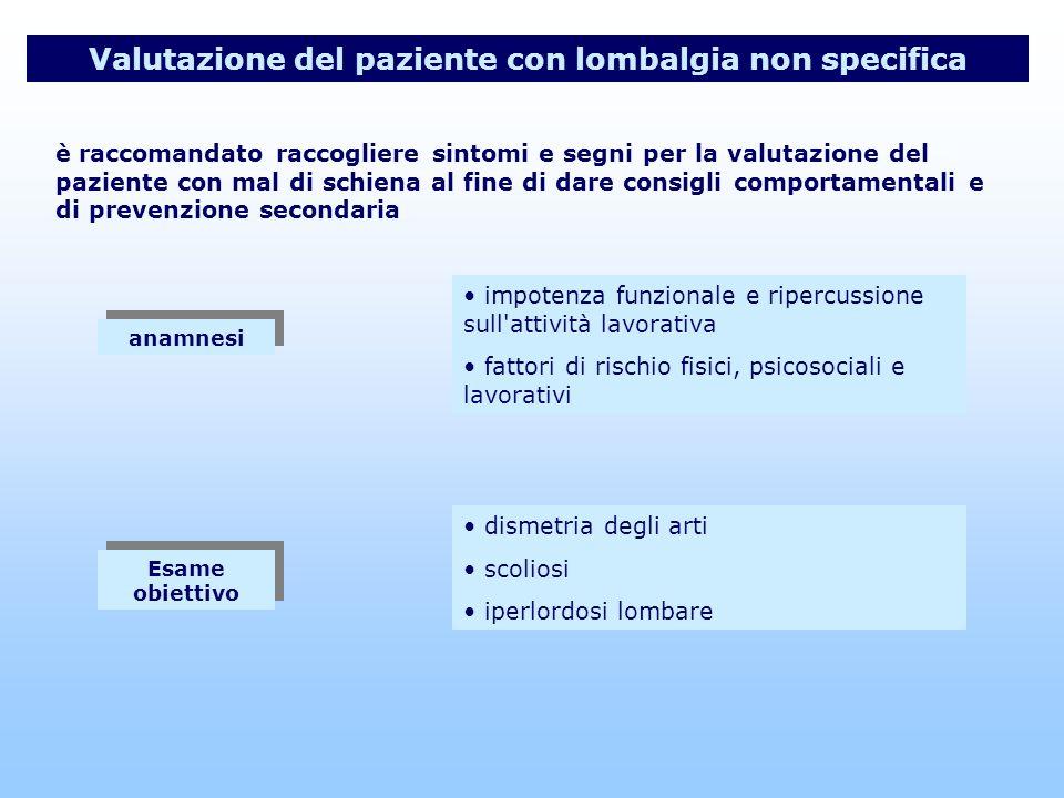 Valutazione del paziente con lombalgia non specifica