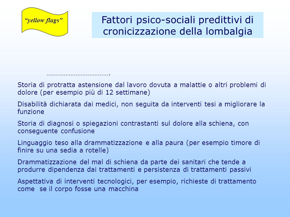 Fattori psico-sociali predittivi di cronicizzazione della lombalgia