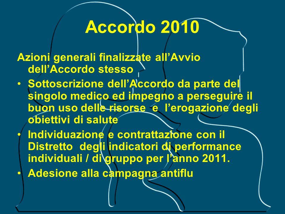 Accordo 2010 Azioni generali finalizzate all'Avvio dell'Accordo stesso