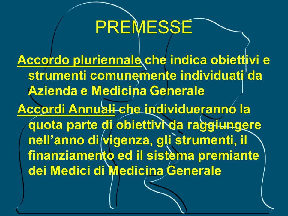 PREMESSE Accordo pluriennale che indica obiettivi e strumenti comunemente individuati da Azienda e Medicina Generale.