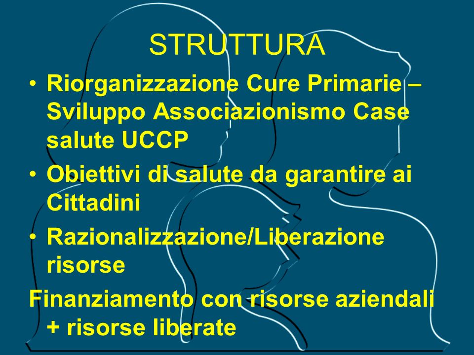 STRUTTURARiorganizzazione Cure Primarie –Sviluppo Associazionismo Case salute UCCP. Obiettivi di salute da garantire ai Cittadini.