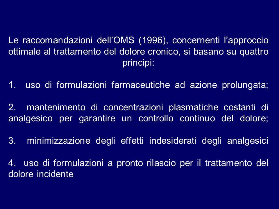 Le raccomandazioni dell'OMS (1996), concernenti l'approccio ottimale al trattamento del dolore cronico, si basano su quattro principi: 1.