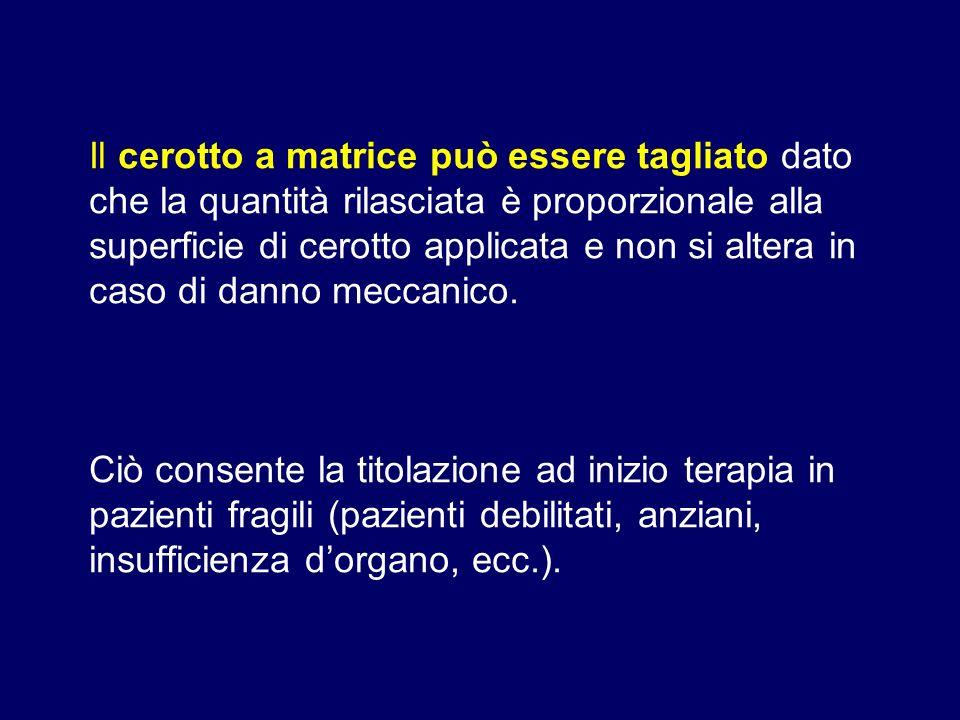Il cerotto a matrice può essere tagliato dato che la quantità rilasciata è proporzionale alla superficie di cerotto applicata e non si altera in caso di danno meccanico.