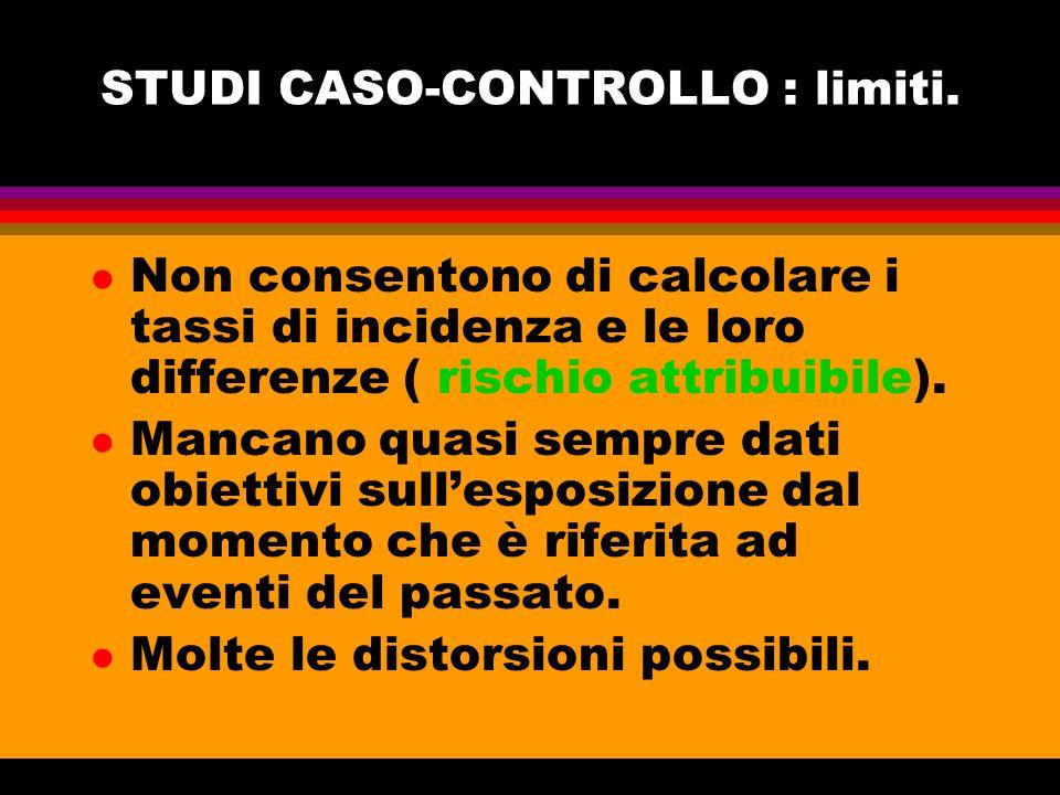 STUDI CASO-CONTROLLO : limiti.