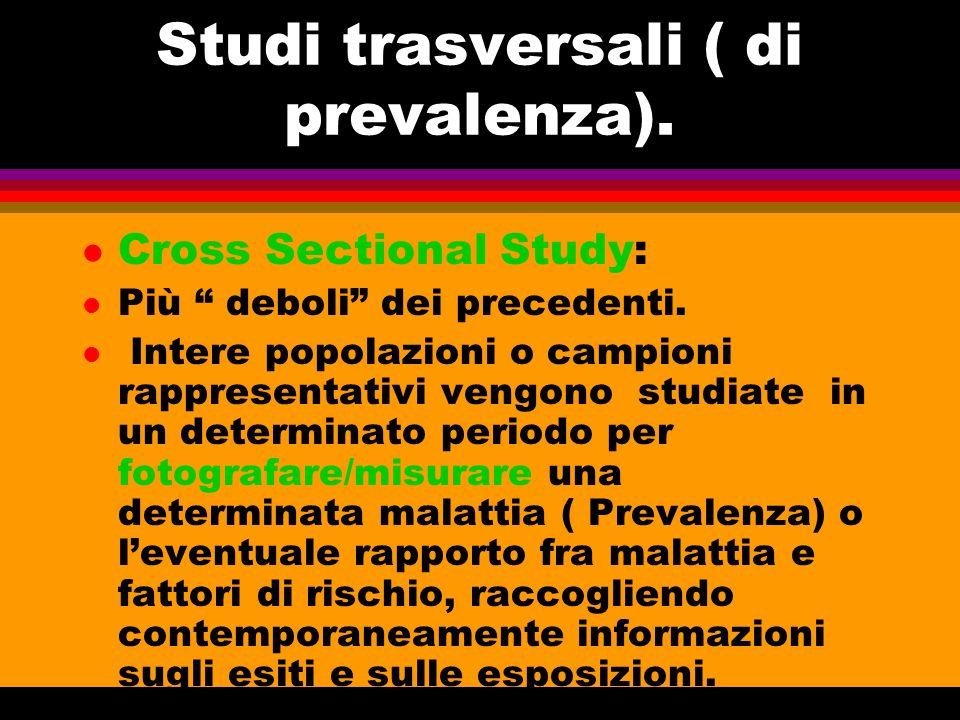 Studi trasversali ( di prevalenza).