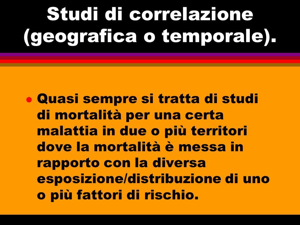Studi di correlazione (geografica o temporale).