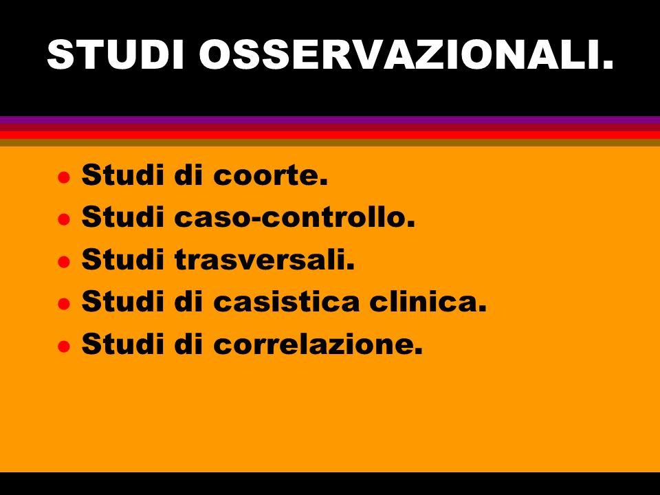 STUDI OSSERVAZIONALI. Studi di coorte. Studi caso-controllo.