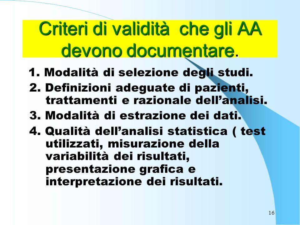 Criteri di validità che gli AA devono documentare.