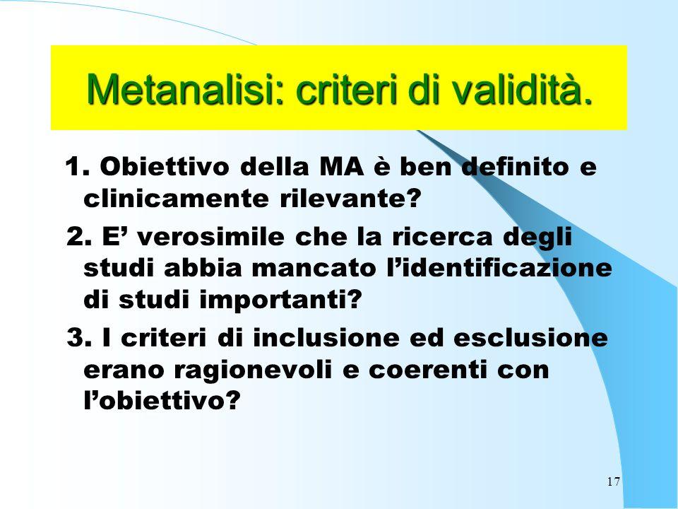 Metanalisi: criteri di validità.