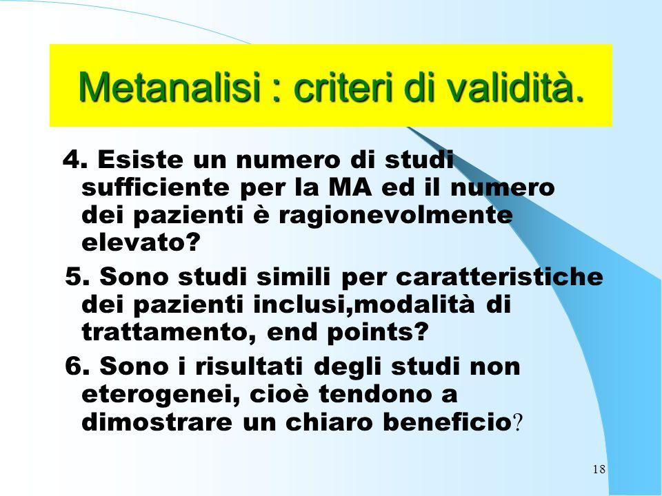Metanalisi : criteri di validità.