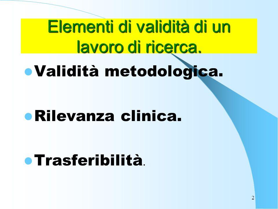 Elementi di validità di un lavoro di ricerca.