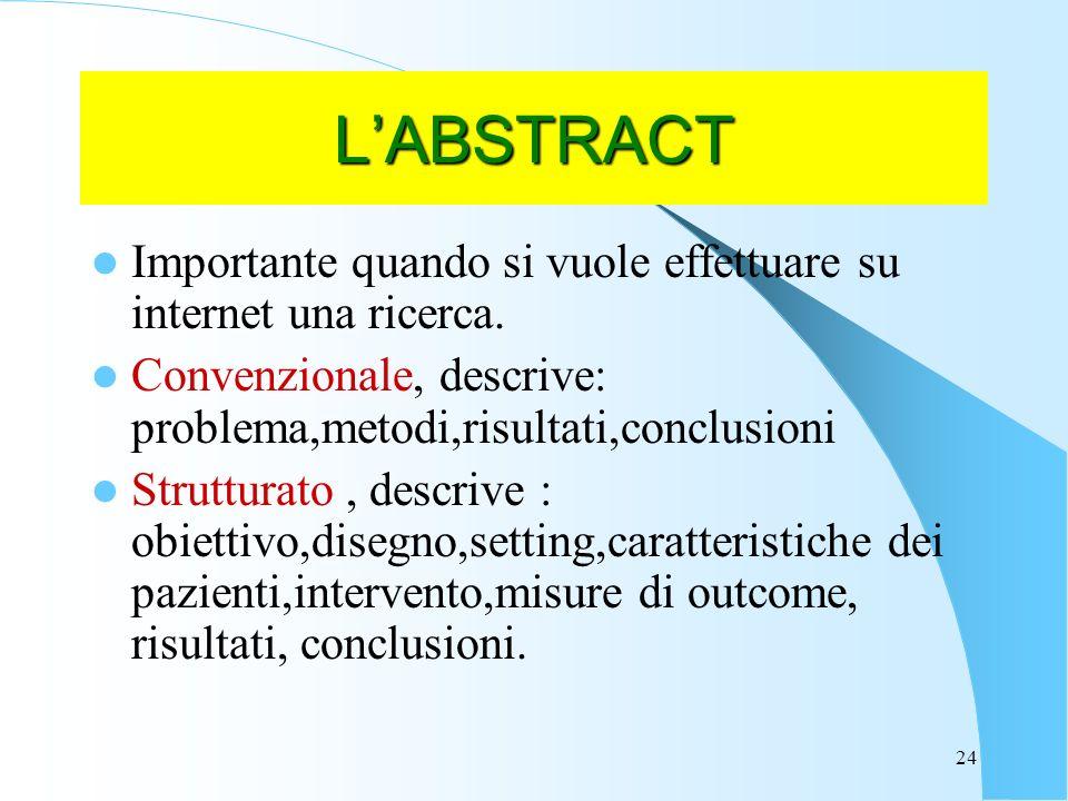 L'ABSTRACT Importante quando si vuole effettuare su internet una ricerca. Convenzionale, descrive: problema,metodi,risultati,conclusioni.