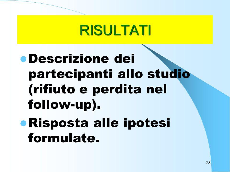 RISULTATI Descrizione dei partecipanti allo studio (rifiuto e perdita nel follow-up).