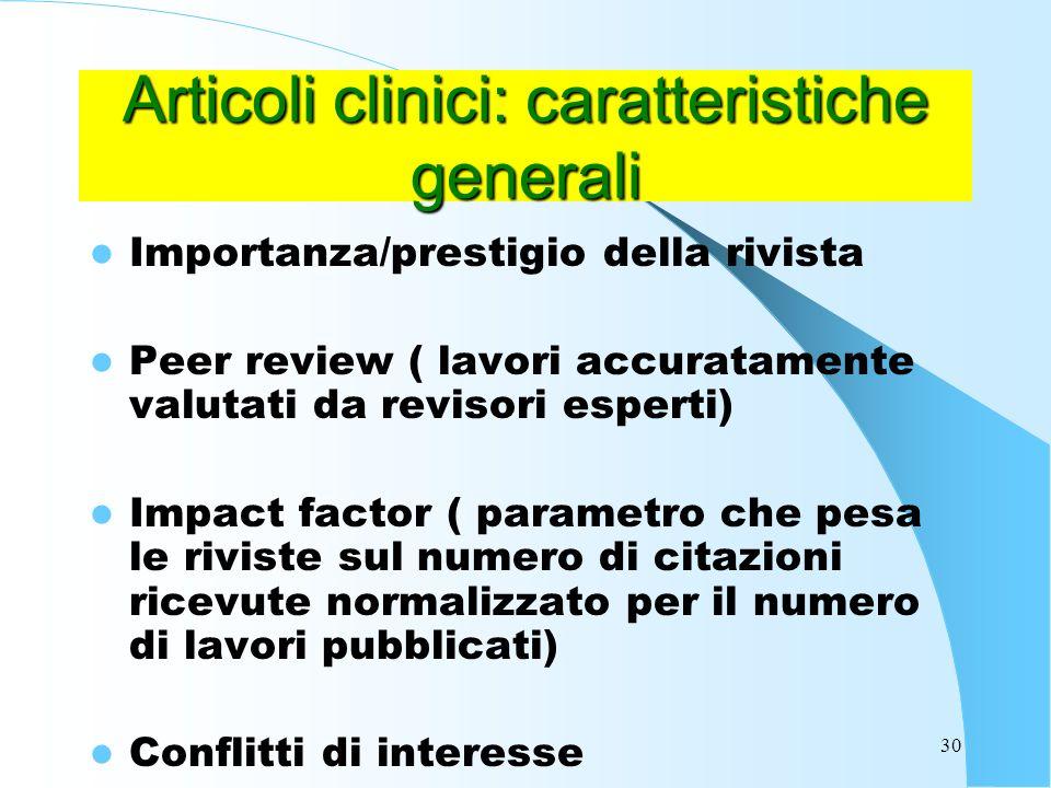 Articoli clinici: caratteristiche generali
