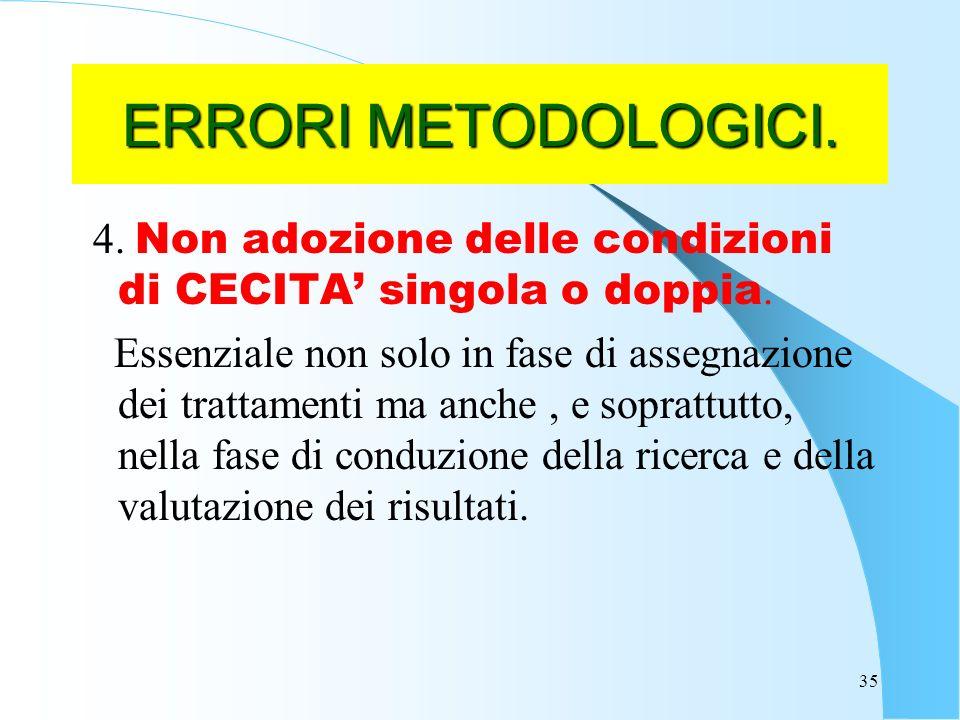ERRORI METODOLOGICI. 4. Non adozione delle condizioni di CECITA' singola o doppia.