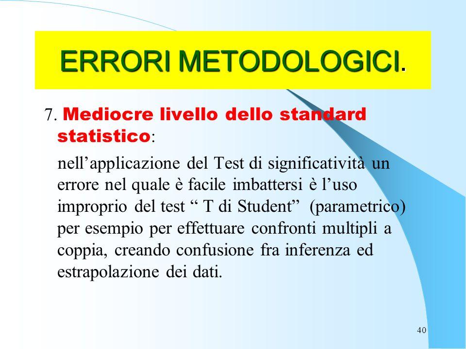 ERRORI METODOLOGICI. 7. Mediocre livello dello standard statistico: