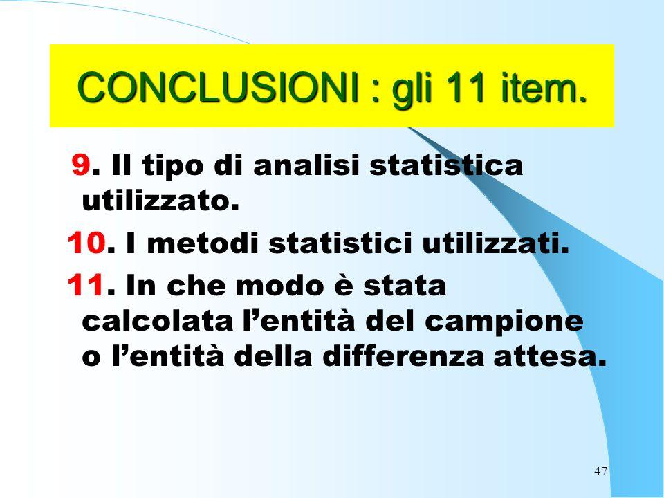 CONCLUSIONI : gli 11 item. 9. Il tipo di analisi statistica utilizzato. 10. I metodi statistici utilizzati.