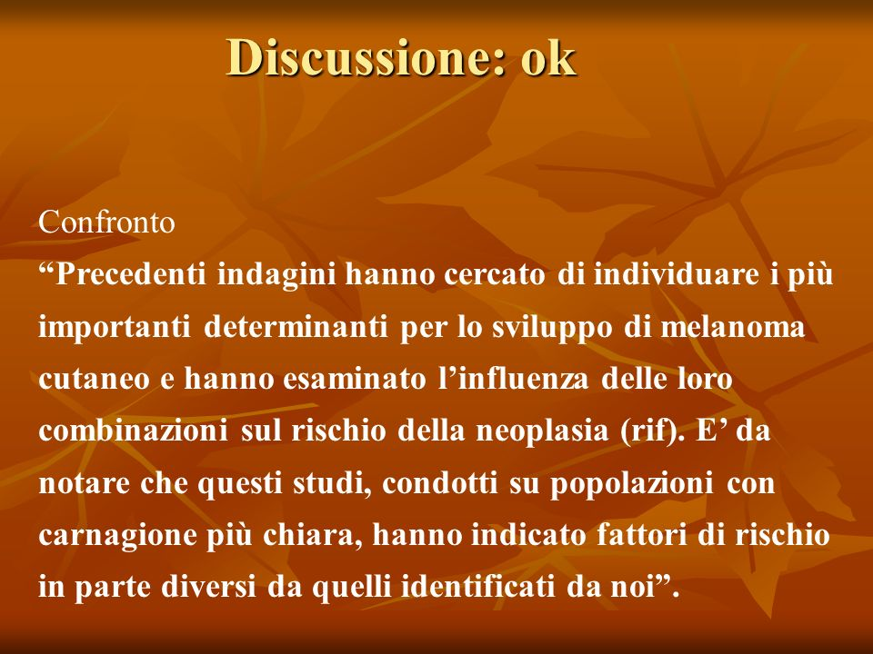 Discussione: ok Confronto