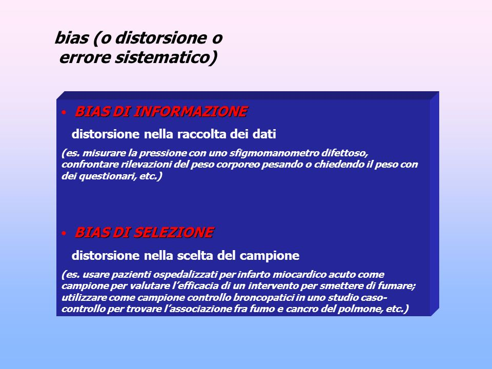 bias (o distorsione o errore sistematico)