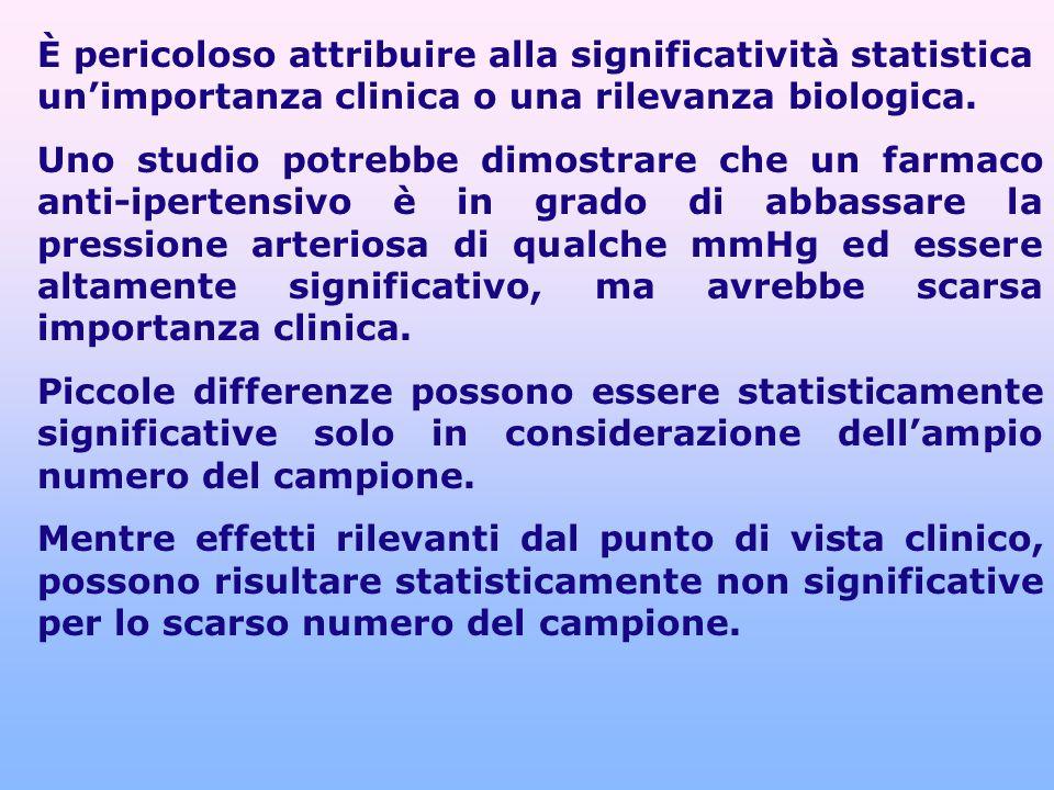 È pericoloso attribuire alla significatività statistica un'importanza clinica o una rilevanza biologica.