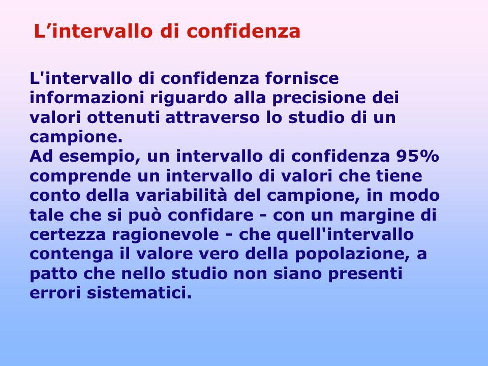 L'intervallo di confidenza