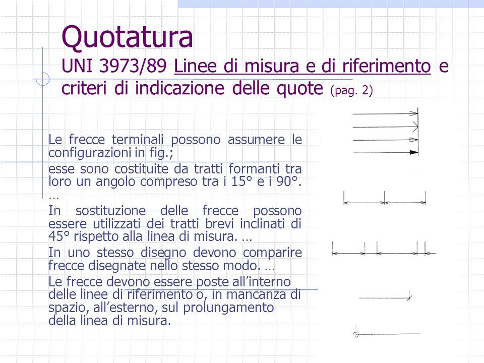 Quotatura UNI 3973/89 Linee di misura e di riferimento e criteri di indicazione delle quote (pag. 2)