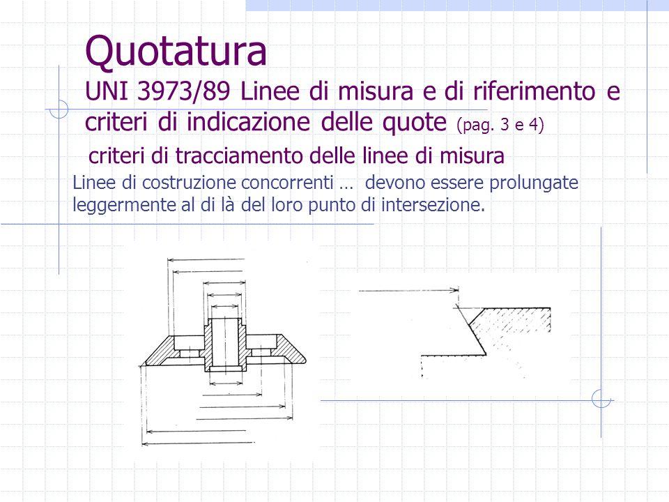 Quotatura UNI 3973/89 Linee di misura e di riferimento e criteri di indicazione delle quote (pag. 3 e 4)