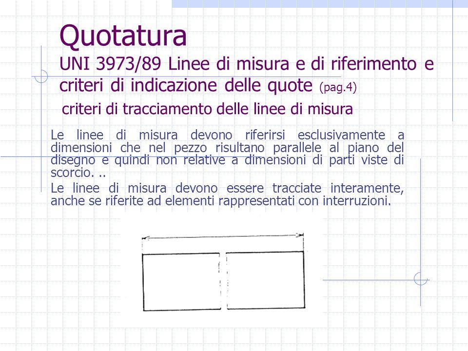 Quotatura UNI 3973/89 Linee di misura e di riferimento e criteri di indicazione delle quote (pag.4)
