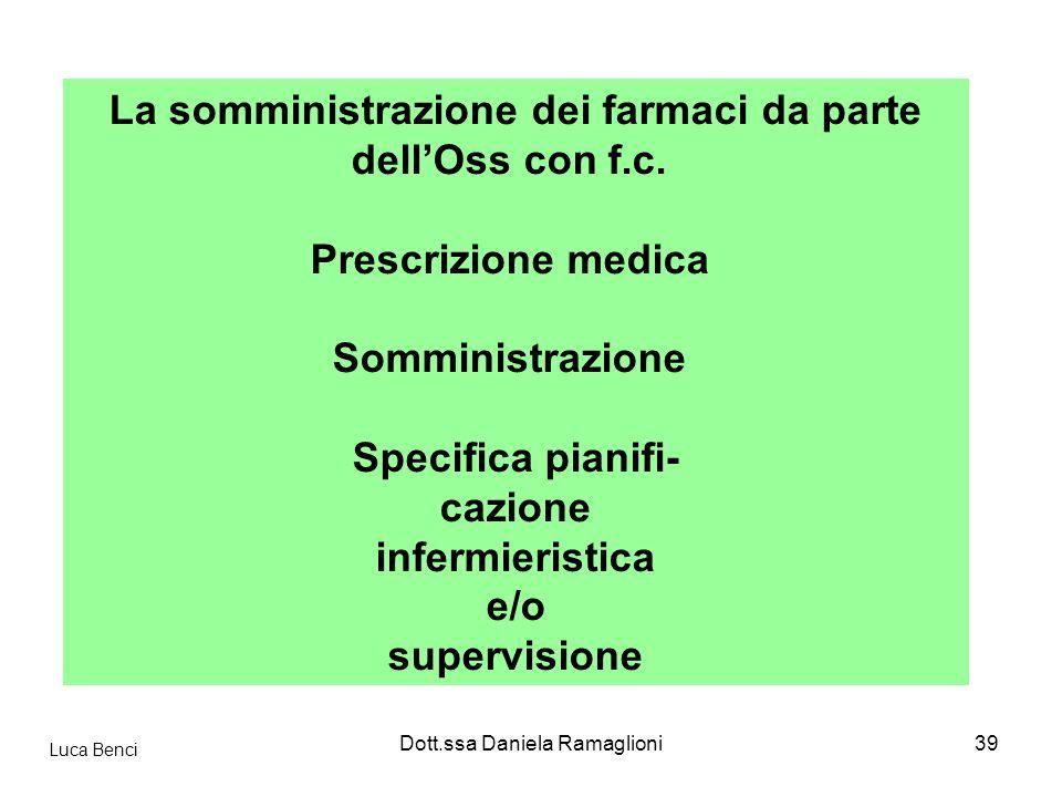 La somministrazione dei farmaci da parte dell'Oss con f.c.