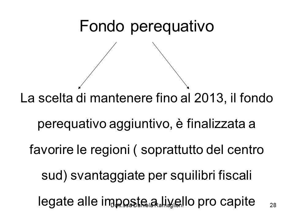 Fondo perequativo La scelta di mantenere fino al 2013, il fondo