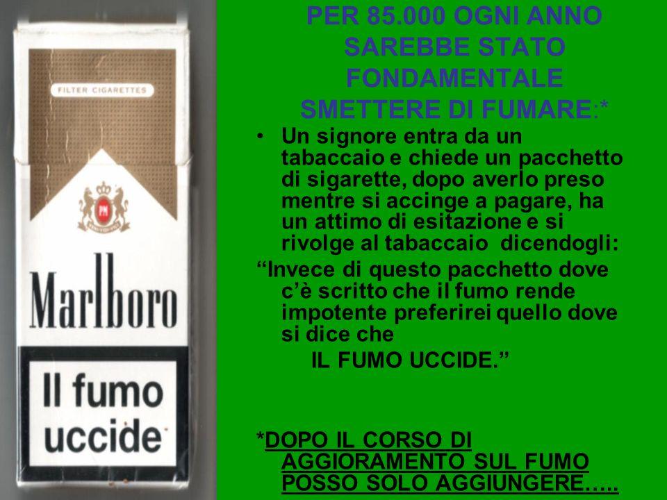PER 85.000 OGNI ANNO SAREBBE STATO FONDAMENTALE SMETTERE DI FUMARE:*