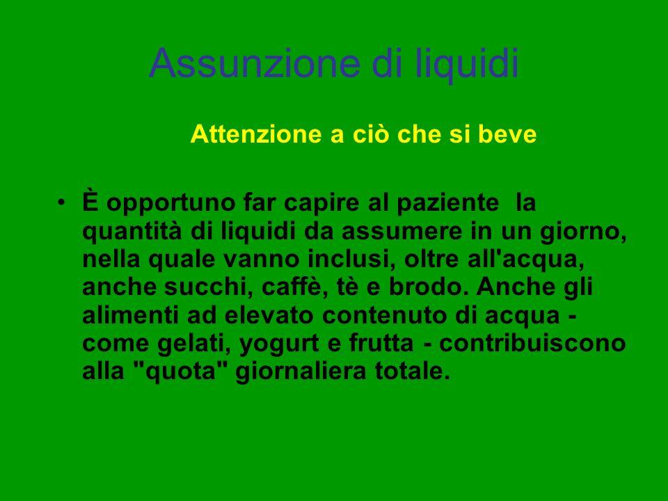 Assunzione di liquidi Attenzione a ciò che si beve