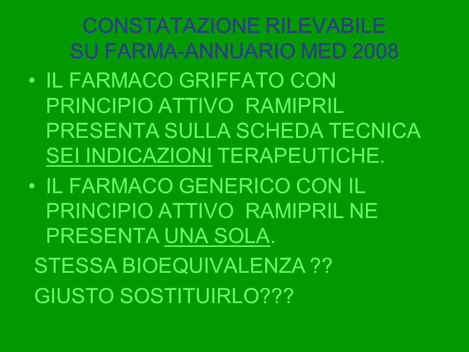 CONSTATAZIONE RILEVABILE SU FARMA-ANNUARIO MED 2008