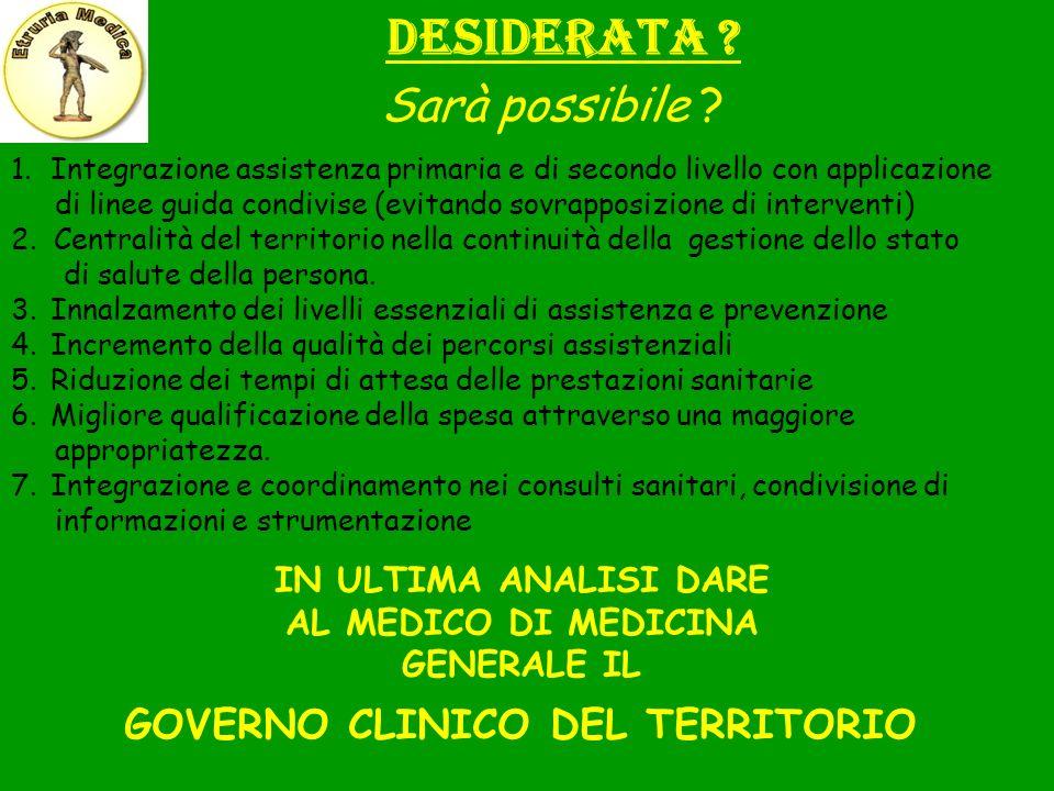 AL MEDICO DI MEDICINA GENERALE IL GOVERNO CLINICO DEL TERRITORIO