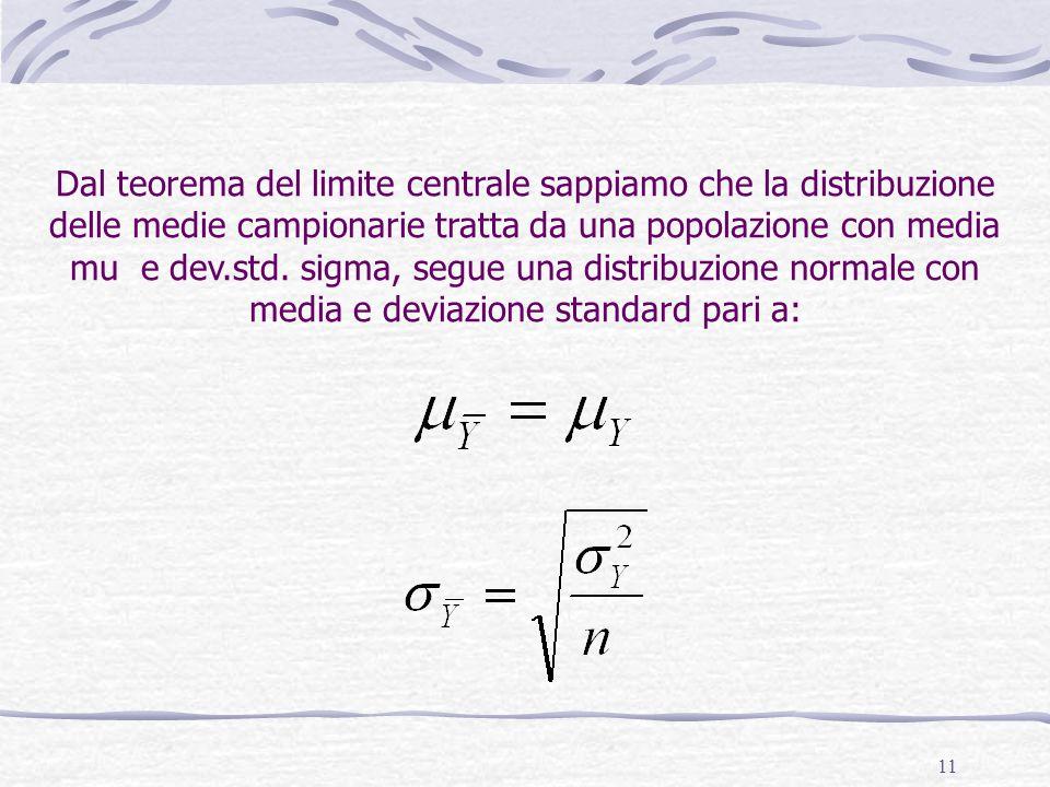 Dal teorema del limite centrale sappiamo che la distribuzione delle medie campionarie tratta da una popolazione con media mu e dev.std.