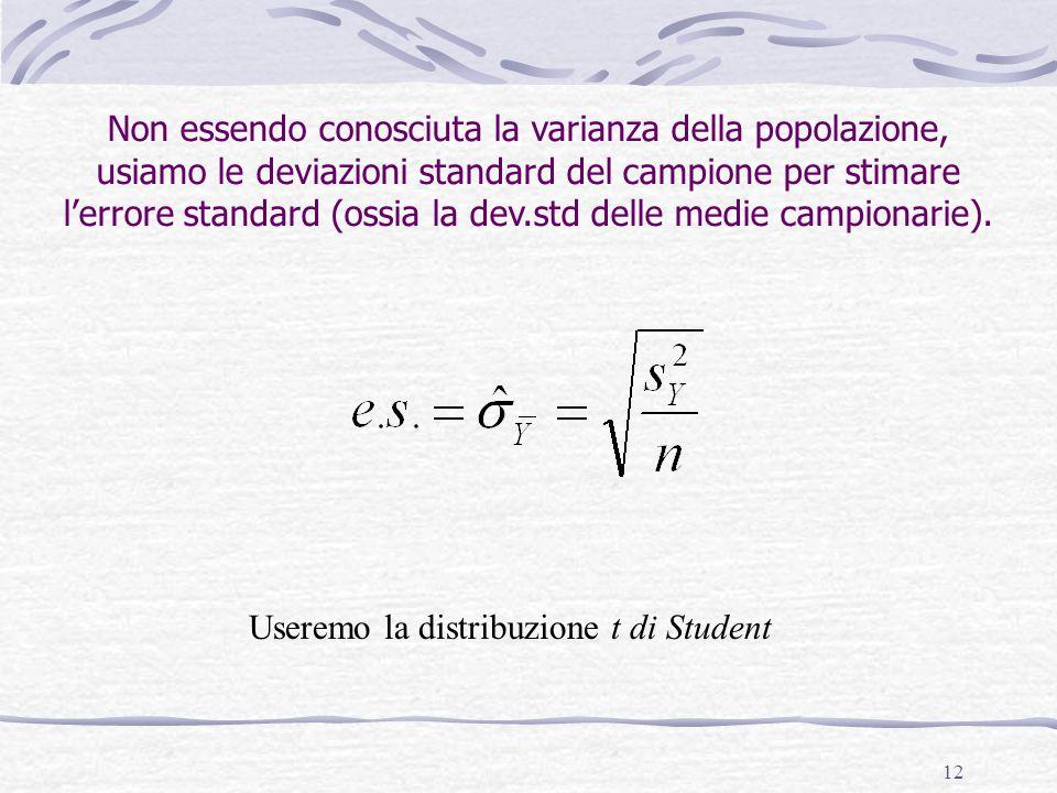 Non essendo conosciuta la varianza della popolazione, usiamo le deviazioni standard del campione per stimare l'errore standard (ossia la dev.std delle medie campionarie).