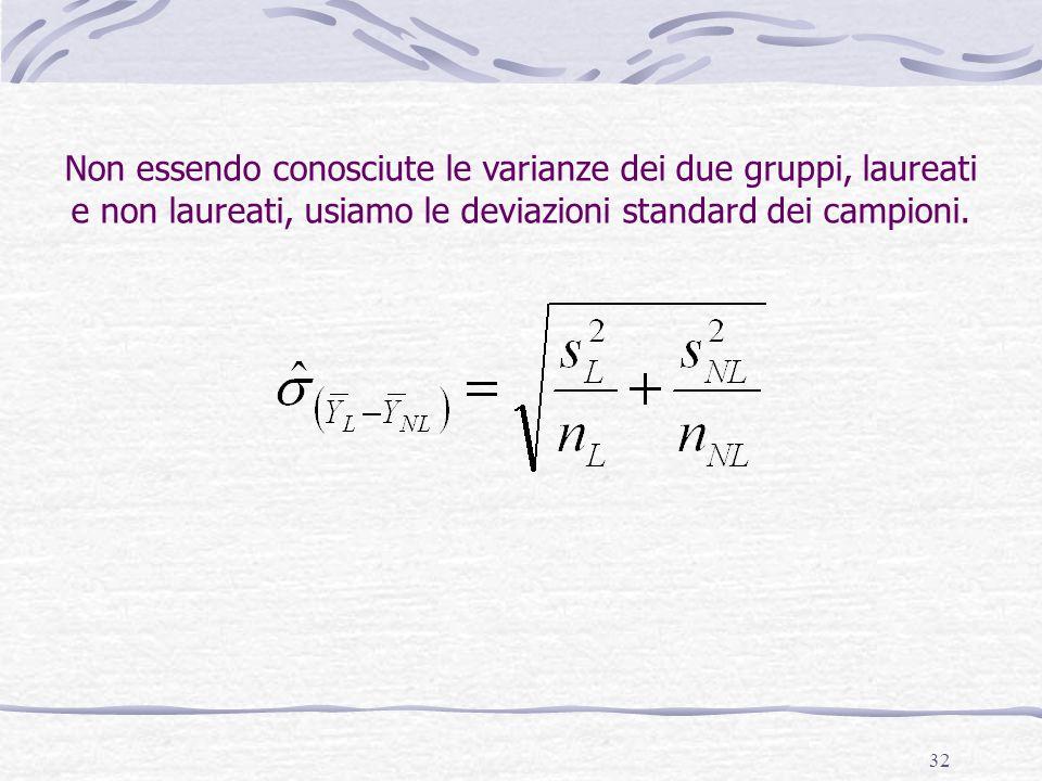 Non essendo conosciute le varianze dei due gruppi, laureati e non laureati, usiamo le deviazioni standard dei campioni.