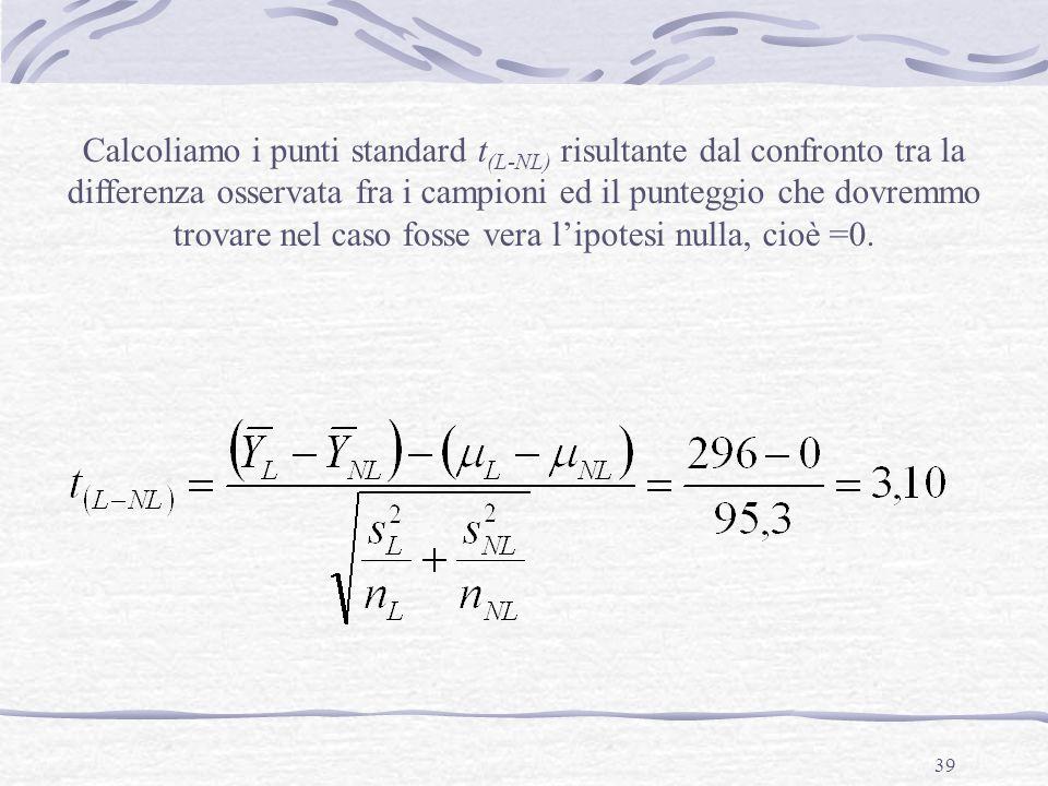 Calcoliamo i punti standard t(L-NL) risultante dal confronto tra la differenza osservata fra i campioni ed il punteggio che dovremmo trovare nel caso fosse vera l'ipotesi nulla, cioè =0.