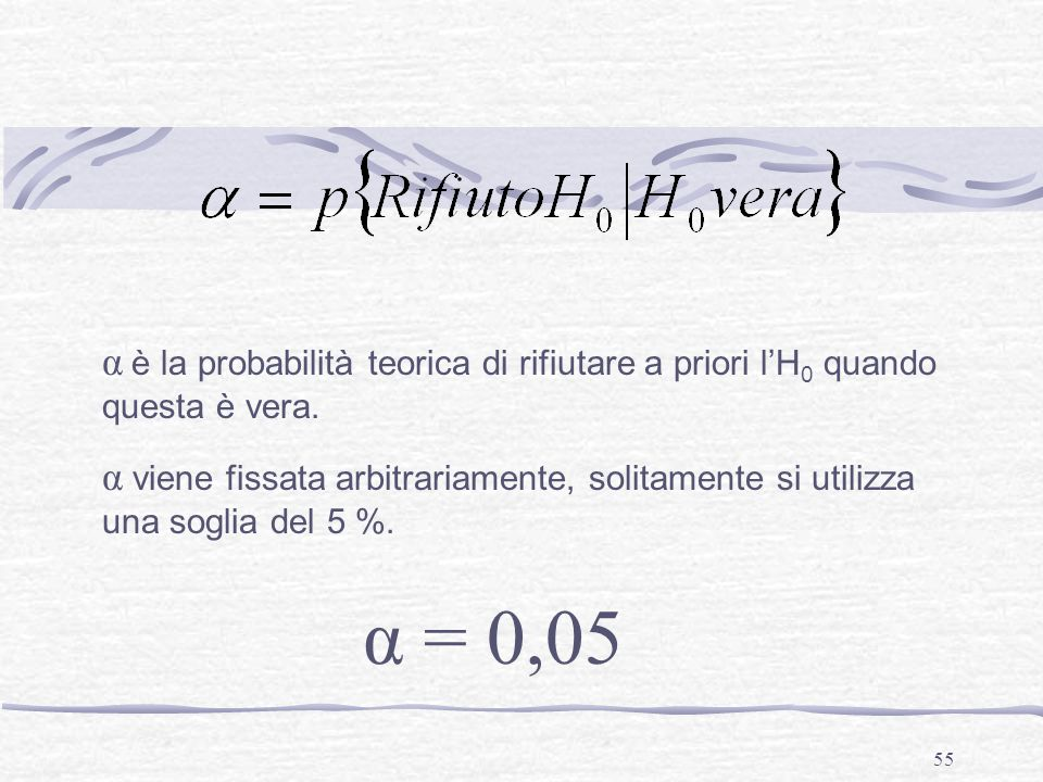 α è la probabilità teorica di rifiutare a priori l'H0 quando questa è vera.