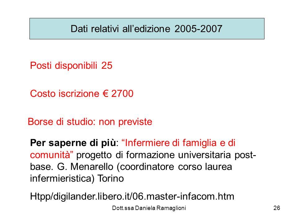 Dati relativi all'edizione 2005-2007