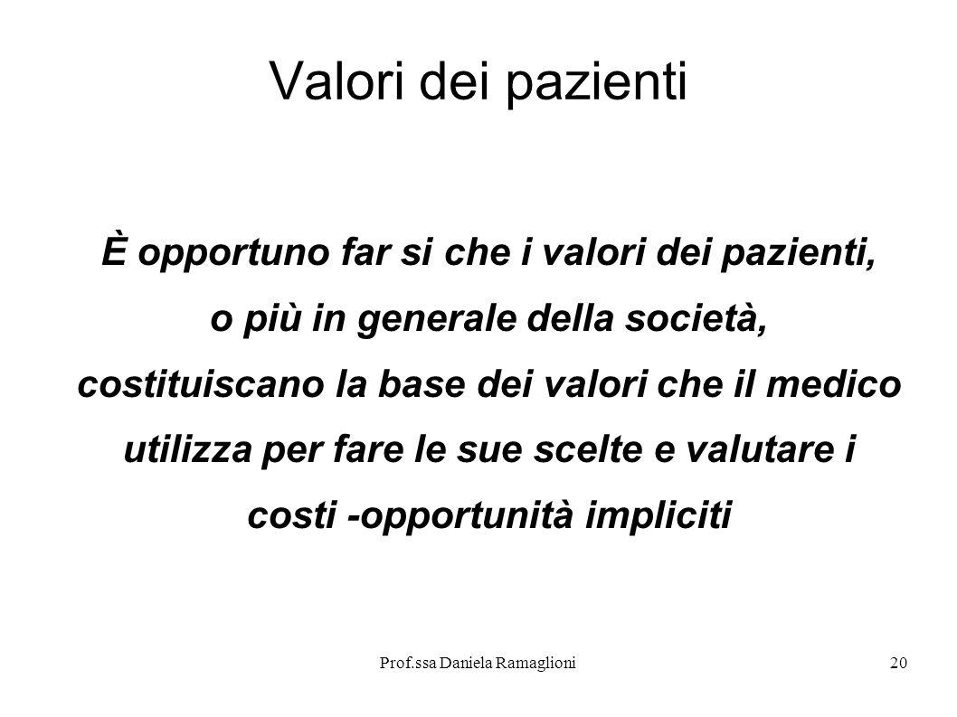 Valori dei pazienti È opportuno far si che i valori dei pazienti,