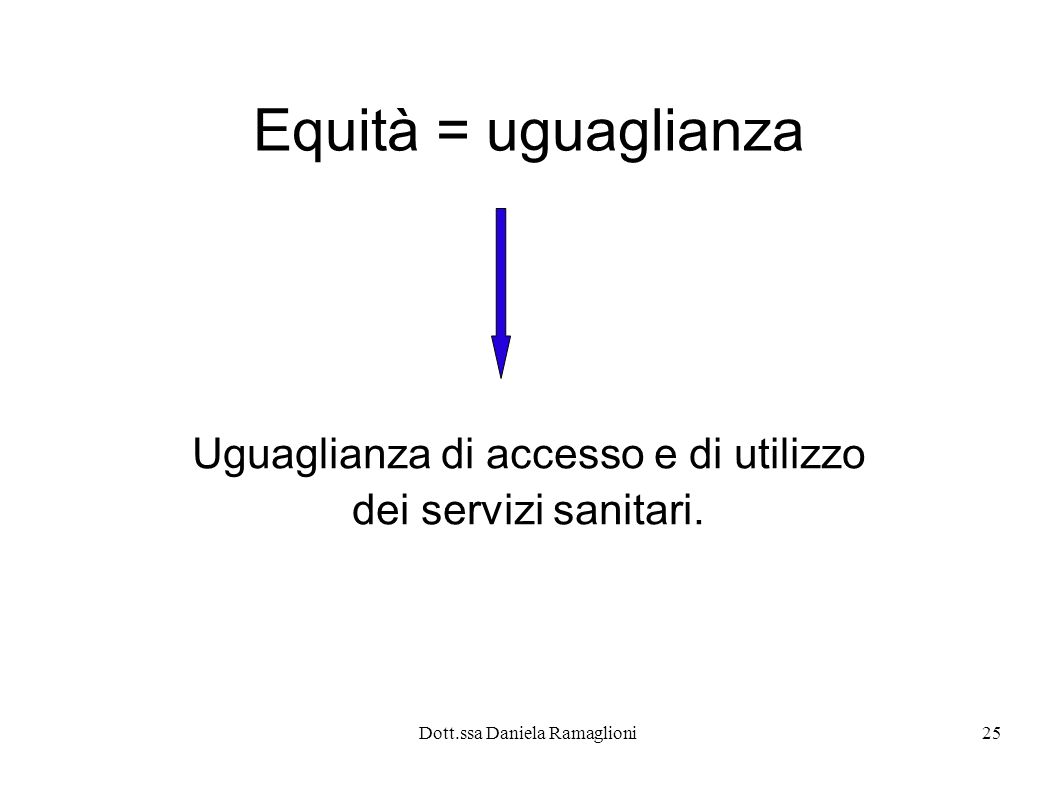 Uguaglianza di accesso e di utilizzo dei servizi sanitari.