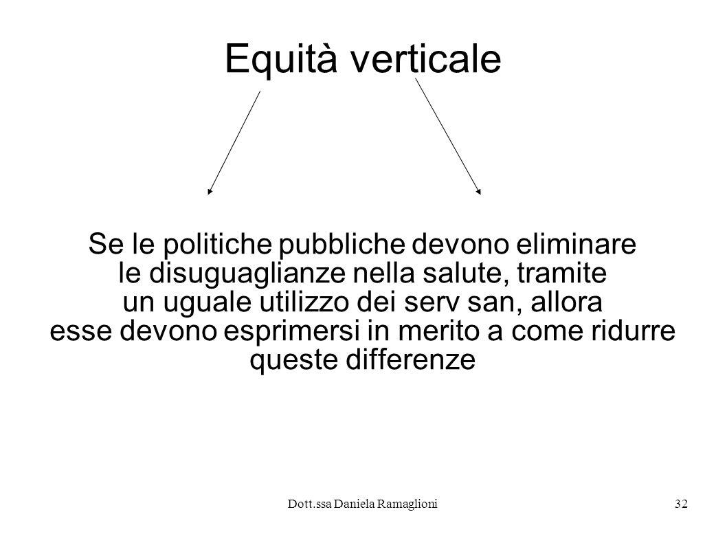 Equità verticale Se le politiche pubbliche devono eliminare