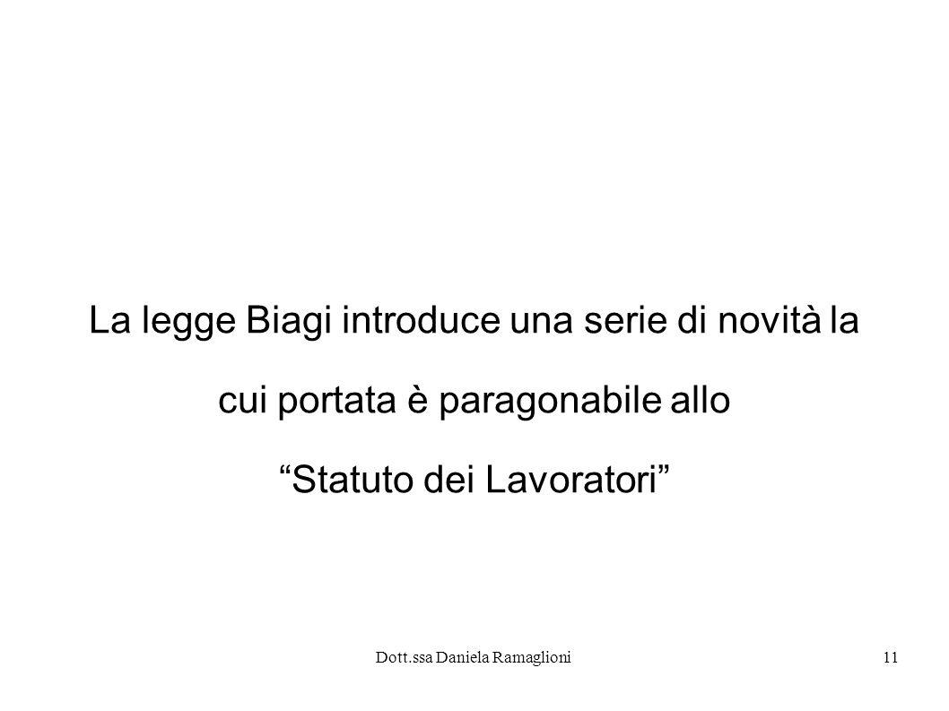 La legge Biagi introduce una serie di novità la