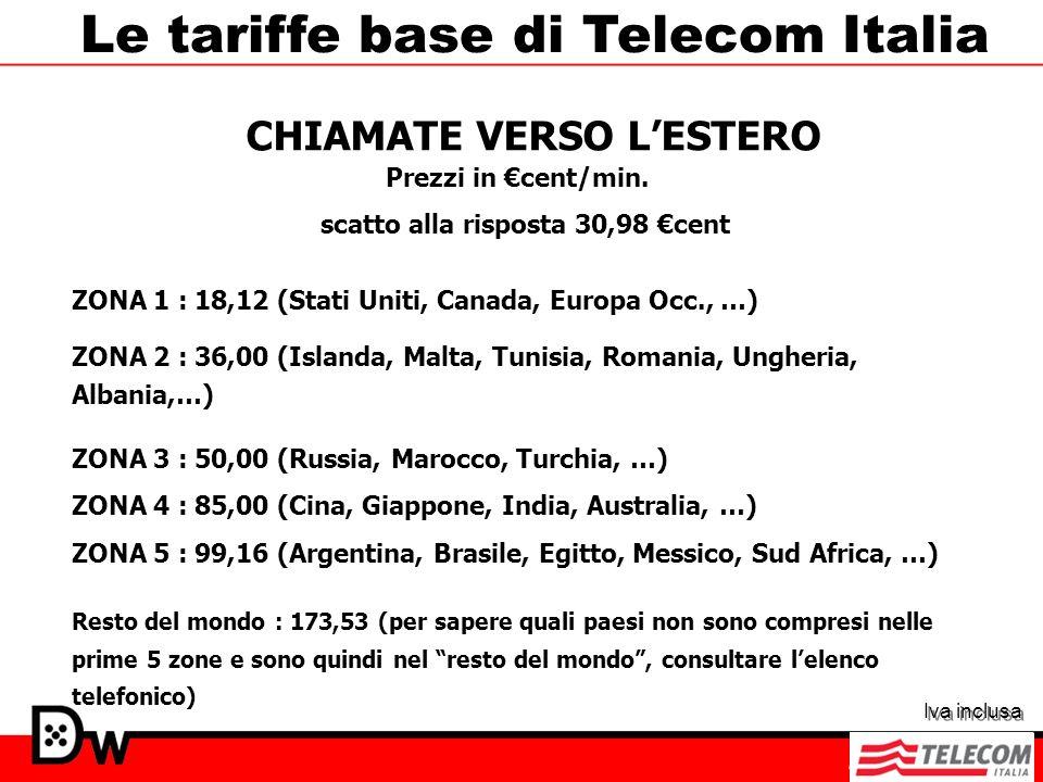 Le tariffe base di Telecom Italia