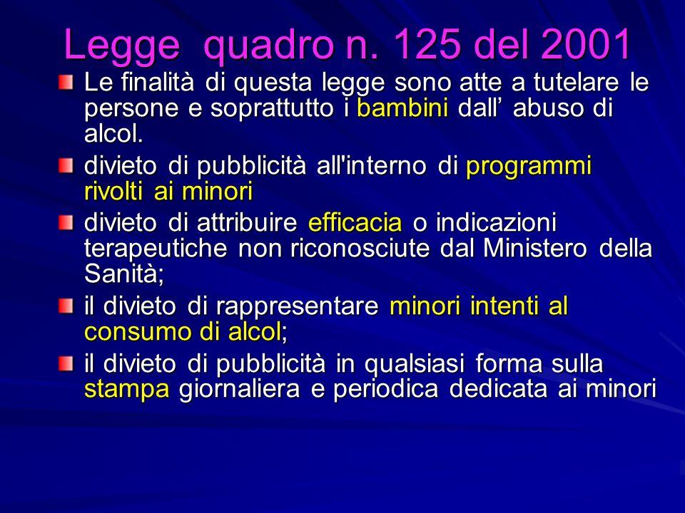 Legge quadro n. 125 del 2001Le finalità di questa legge sono atte a tutelare le persone e soprattutto i bambini dall' abuso di alcol.
