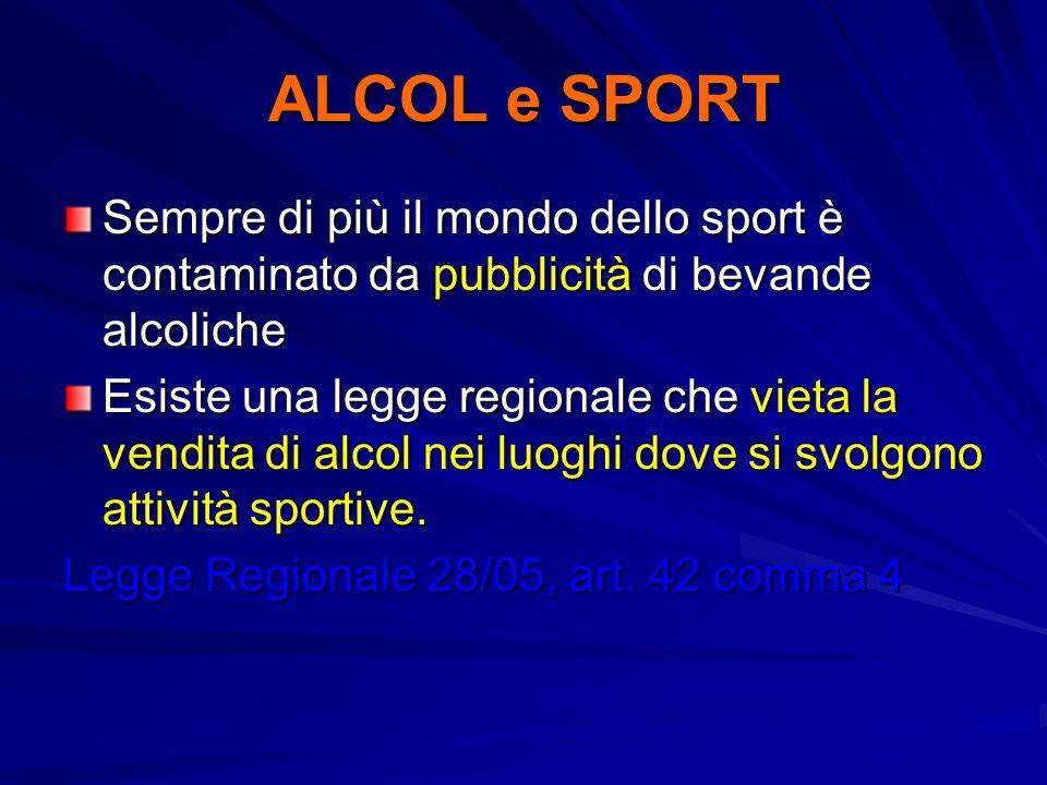 ALCOL e SPORTSempre di più il mondo dello sport è contaminato da pubblicità di bevande alcoliche.