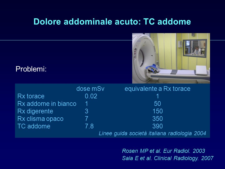 Dolore addominale acuto: TC addome