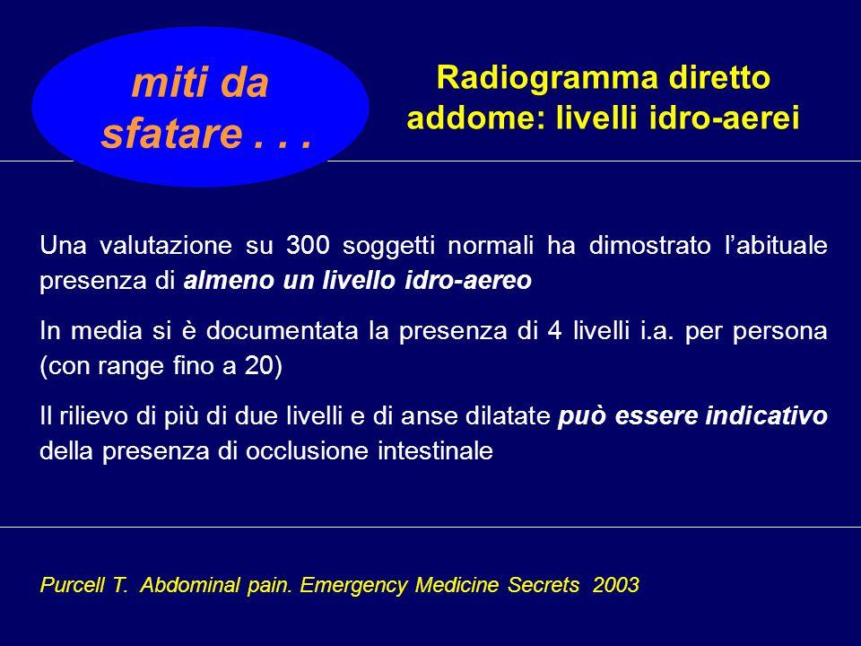 Radiogramma diretto addome: livelli idro-aerei