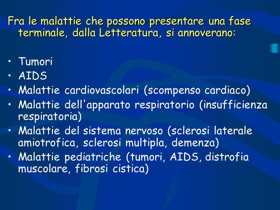 Fra le malattie che possono presentare una fase terminale, dalla Letteratura, si annoverano: